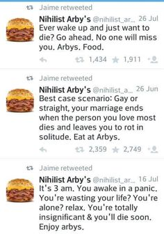 nihilist arby s is the best thing on twitter stuff pinterest humor