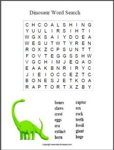 Dinosaur Word Search Printables - 4 great dino word searches from easy to hard. Includes separate carnivore and herbivore printables. Dinosaur Worksheets, Dinosaur Activities, Dinosaur Crafts, Worksheets For Kids, Learning Activities, Activities For Kids, Dinosaur Dinosaur, Vocabulary Activities, Word Puzzles For Kids