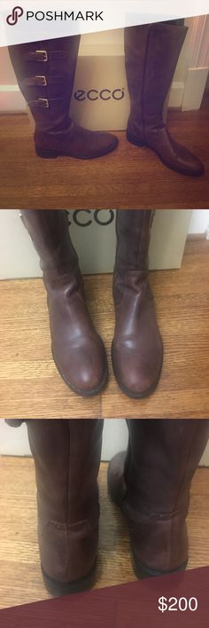 Ecco brown boots (with box) Basically brand new with original box and packaging Ecco Shoes