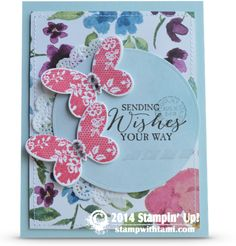 Today's card uses the new Butterfly Basics bundle (stamps and framelits) from the new Occasions Catalog. This stamp set comes in all 3 options (wood mount rubber, clear mount rubber or photopolymer...