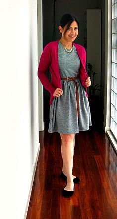 grey dress pink cardi