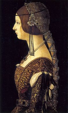 Ambrogio de Predis, Bianca Maria Sforza, 1493. This painting is in the National Gallery