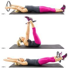 Pilates Power Ring exercises - I'm just getting started with my Pilates ring, and I love it! Blast Thigh Jiggle: 9 Pilates Ring Exercises We Swear By [VIDEO] Pilates Training, Pilates Workout, Pilates Ring Exercises, Pilates Moves, Thigh Exercises, Pilates Reformer, Pop Pilates, Pilates Video, Thigh Workouts