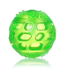 Squeak Chew Toy Ball for Dogs ATESSON Bite Resistant Tough Rubber Tooth Cleaning Toy Tennis Size 3 Inch Green ** You can get additional details at the image link. (Note:Amazon affiliate link)