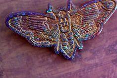 Super Glitter Iredecent Resin Death Head Moth by JollyHollieday