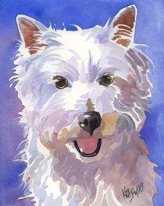 West Highland White Terrier Art Print of Original by dogartstudio