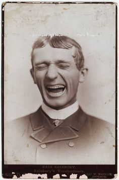 u                Vintage photo of laughing man during an era when no one ever…