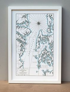 """Chesapeake Bay, Maryland, Letterpress Map Print. Chesapeake Bay is a massive estuary known historically for both its beauty and bounty. Hand-drawn and printed on an old-fashioned letterpress to look like an authentic artifact, each piece is tinted with watercolor. Printed on beautiful Crane's lettra, pearl white, 100% cotton archival 12 x 18"""" paper in dark grey ink with a pale blue watercolor wash. Sold UNFRAMED, but easy to frame. Printed in a limited edition. Signed, dated and numbered...."""