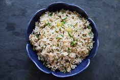 Rice Pilaf ~ My mother's rice pilaf recipe, made with long grain white rice, onion, celery, stock, seasoned salt, pepper, and cayenne. ~ SimplyRecipes.com