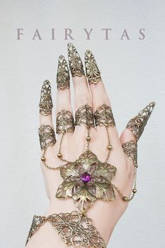 Flower claw spike finger slave bracelet by Fairytas on Etsy