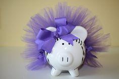 Small Zebra Print With Purple Tutu Piggy Bank by Swoopadaisies, $15.00