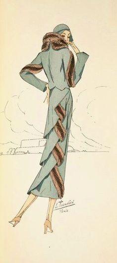 1930 wowzer design for long coat with fur trim