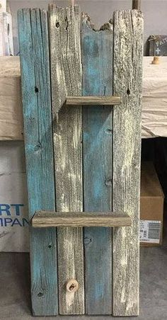This is original wood is from a feed bunk we tore down this summer on our Century Farm in NE Oregon. Shelves are made out of barnwood. Barn Wood Crafts, Reclaimed Wood Projects, Pallet Crafts, Diy Pallet Projects, Woodworking Projects, Barnwood Ideas, Woodworking Logo, Woodworking Clamps, Woodworking Books