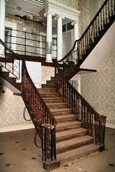 Staircase, abandoned Essex Mansion, UK