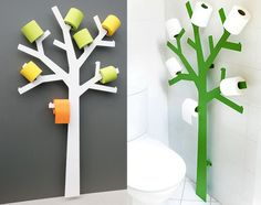 Enter the Toilet Paper Tree. It lets you display 14 extra rolls of toilet paper in plain sight so your guests in