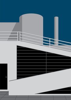 Minimal Design of Le Corbusier architecture for greeting cards! #Flat #Depth