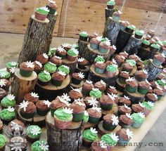Rustic Brown and Green Wedding Cupcakes
