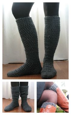 Crochet Iphone Knee-High Boot Socks Free Crochet Pattern - This Knee High Socks Free Crochet Pattern is tall enough to peek out over your boots, which is a cute style for the winter months. Crochet Boot Socks, Crochet Sock Pattern Free, Crochet Slippers, Knitting Socks, Crochet Yarn, Crochet Stitches, Free Crochet, Crochet Patterns, Crochet Ideas