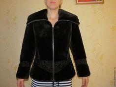 куртка из бобра канадского с баской - коричневый,однотонный,меховая куртка