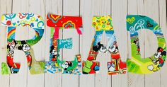 Letter Set, Letter Wall, Read Letters, Bulletin Board Letters, Painting Wooden Letters, Character Letters, World Teachers, Disney Classroom, Teacher Signs