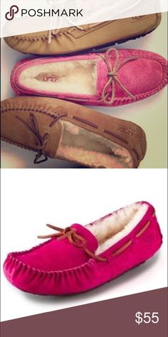 Ugg Loafers 💕 Gently worn authentic Ugg loafers/slippers. Hot pink 🎀. Perfect for Autumn. Can wear inside or outside! Leather laces, water resistant suede, wool interior, and rubber sole. The comfiest pair of shoes I've ever owned. UGG Shoes Flats & Loafers