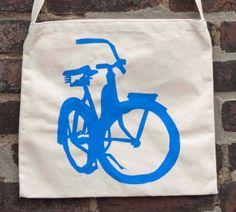 Photo of Bicycle Art Tote Bag - Musette - Blue Beach Cruiser Bike Bag