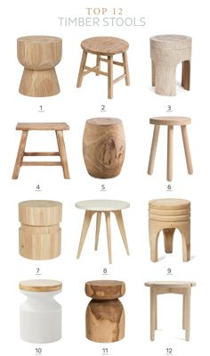 Tour de table en bois Timber stools roundup — Adore Home Magazine - Interior Decoration Accessories coffee tables Home Decor Accessories, Decorative Accessories, Furniture Decor, Furniture Design, Plywood Furniture, Chair Design, Modern Furniture, Wood Stool, Pallet Stool