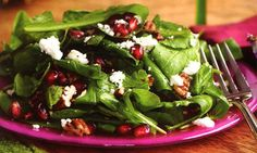Baby Arugula Salad with Goat Cheese, Pecans and Pomegranate Seeds