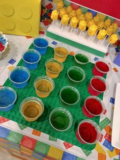 Lego birthday party, Jell-O cups