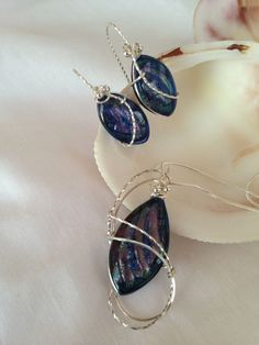 Sterling Silver-Filled Multi-toned Navy Dichroic Pendant Necklace with Matching Earrings by AstralDesigns on Etsy https://www.etsy.com/listing/172808678/sterling-silver-filled-multi-toned-navy
