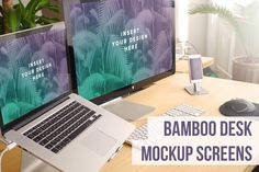 Bamboo Desk Dual Screens by DigitalCreative on @creativemarket