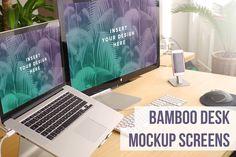 Bamboo Desk Dual Screens - Product Mockups