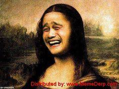 "Derp Derpina Internet Meme's Collection: Meme Of ""Mona Lisa""...ummm anyone else think this looks like Joseph Gordon Levitt??"
