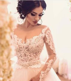 Custom Long Sleeve Wedding Gowns You Can Afford - This pretty open neckline wedding gown can be recreated for you. The sheer long sleeves and v-neck - Princess Wedding Dresses, Dream Wedding Dresses, Bridal Dresses, Couture Dresses, Dresses Dresses, Wedding Gowns With Sleeves, Long Sleeve Wedding, Braut Make-up, Dream Dress