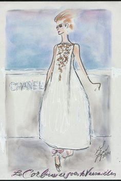 """Karl Lagerfeld's sketch of his fall couture collection for Chanel featuring the inscription """"Le Corbusier goes to Versailles."""" [Courtesy Photo]"""