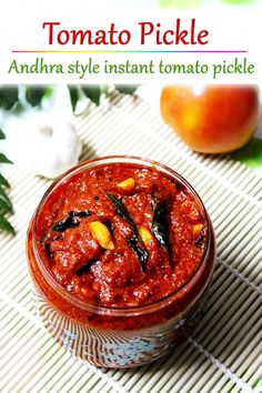 tomato pickle made with ripe tomatoes, chilli powder, spices & oil. Store this up to 3 months and enjoy with your rice, snacks & breakfast. Veg Yummy Recipes, Vegetarian Recipes, Cooking Recipes, Andhra Recipes, Indian Food Recipes, Indian Pickle Recipe, Chilli Pickle Recipe, Chilli Powder Recipe, Tomato Ketchup Recipe