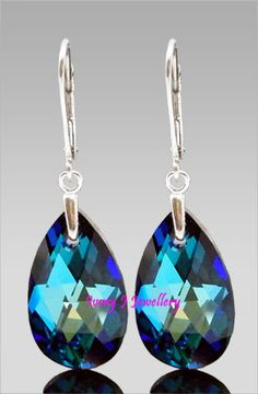 doncrystalsandpearls-SWAROVSKI CRYSTAL Teardrop Earrings Bermuda Blue 925  Sterling Silver Leverbacks- 17.58 fe29a4534f9