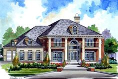 Find your dream southern style house plan such as Plan which is a 3021 sq ft, 4 bed, 3 bath home with 3 garage stalls from Monster House Plans. Colonial House Plans, Southern House Plans, Southern Homes, Georgian Style Homes, Suburban House, Monster House Plans, Custom Home Designs, Bar Designs, Home Theater Design