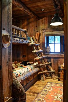 Bunkhouse I like the built in bunk bed idea but not so rustic. I really like the idea of a full size bed on the bottom!