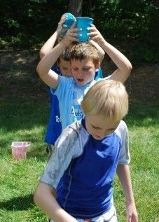 Water balloon party games for Gavin's 9th birthday party!!   ````(the 1st balloon game, a variation on the cup game, and the car race I think are good)```