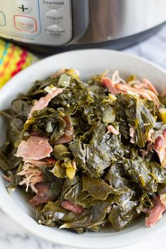 Southern Style Pressure Cooker Collard Greens Recipe These Southern Style Pressure Cooker Collard Greens are flavorful, tender, and cooked in half the time than the stove top method. Now you can enjoy collard greens any day of the week! Best Instant Pot Recipe, Instant Pot Dinner Recipes, Recipes Dinner, Instant Pot Pressure Cooker, Pressure Cooker Recipes, Pressure Cooking, Slow Cooker, Smoked Turkey Wings, Instant Pot Veggies