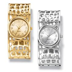 Ladies glamorous open back cuff watch with little square open work cut-out design. · Cuff: Bangle style W, hinged on both sides · Face: without casing; with casing · Battery: Replaceable · Movement: · Imported Mothers Day Special, Cut Out Design, Stylish Jewelry, Perfume, Fashion Watches, Gold Watch, Jewelry Collection, Jewelry Watches, Quartz