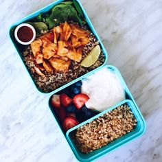 **GIVEAWAY CLOSED** VEGAN Thai chilli chick'n quinoa salad with coconut yogurt, granola and fruit! This recipe is in my NEW video, along with 2 other recipes! Link in my bio ✨ ALSO I'm having a WORLDWIDE giveaway for a @monbento bento box to celebrate reaching 50k subs on YouTube a few days ago! to enter, simply follow both me @livshealthylife and @Monbento and tag 3 friends in the comments of this photo! The contest closes on Friday so enter asap ✨ #bentobox #govegan #giveaway