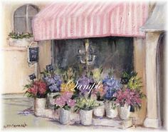 French Flower Shop 8 X 10 Canvas Print