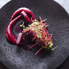 A Recipe by Akrame Benallal for pigeon, lychee and beetroot