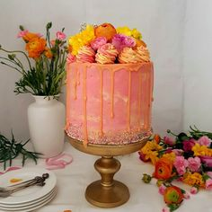 Almond Cake Guave Peach Buttercream