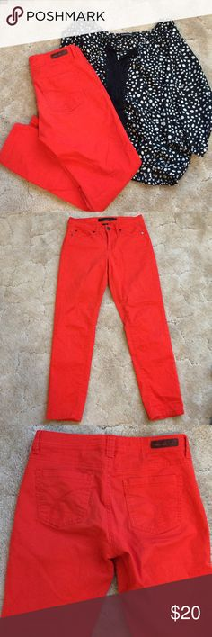 Calvin Klein Skinny Crop Jeans This are a gorgeous orange five pocket Jean with a front zip fly and button closure by Calvin Klein. The style tag states Skinny Crop which looks to fall right at ankle. Size 26/2. Excellent condition! Calvin Klein Jeans Ankle & Cropped
