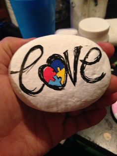 Love autism painted rocks