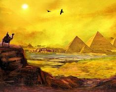 Pyramid Art, Egyptian Art, Egypt Paintings, Landscape Art, Pyramid Paintings, Egyptian Digital Art, Wall Art, Wall Decor, Egyptian Pyramids