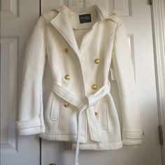 Charlotte Russe White Stud Collar Coat Brand NWT white coat with gold buttons and studs in collar, comes with belt Charlotte Russe Jackets & Coats Pea Coats